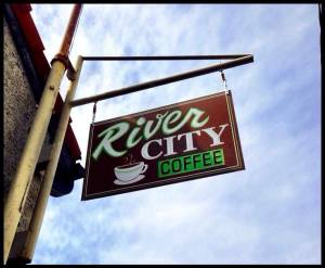 River City Coffee Sign at the new location