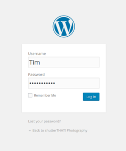 Wordpress login screen example